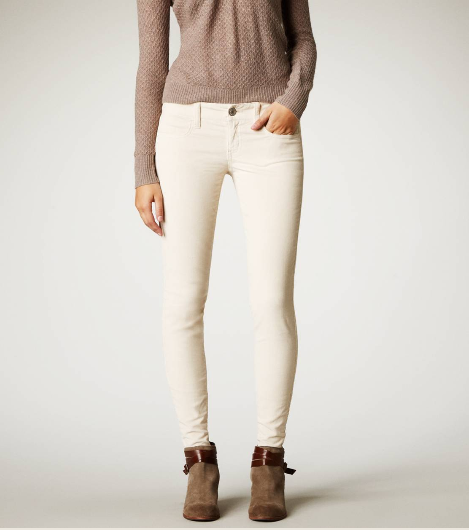 Sustainable resources for light colored leggings, jeggings, or slim pants: Alternative Apparel – A fun selection of light and printed leggings like this cozy marled gray pair. Karen Kane – Grays, whites, and fun textures like these tan faux suede skinnies.